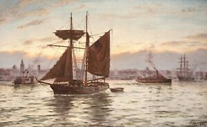 PARKER GREENWOOD (1850-1904) LARGE SIGNED ENGLISH MARINE OIL - LIVERPOOL SUNSET