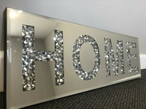 Large Bling Crushed Crystal Mirror HOME Wall Art Plaque Home Decor Word Deco