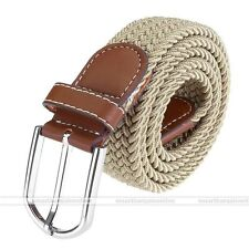 Army Style Pin Buckle Military Mens Sports Web Canvas Belt  Leather Khaki