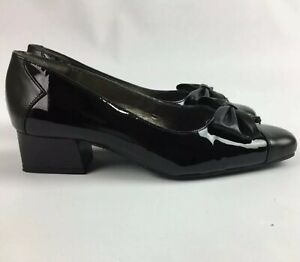 Van Dal Rochelle Black Patent Leather Shoe UK 3 Low Block Heel Work Formal Bows