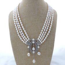 "K112405 4 Strands 18"" White Rice Pearl Necklace CZ Pendant"