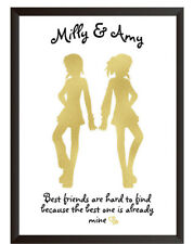 Personalised  Best friend Gold EFFECT Print True Friendship Quote Christmas Gift