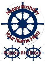 Ship Wheel Cake Topper; Rice Paper,Icing, Personalised decoration.979