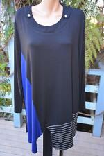 Beme Black-Blue-Grey. Long TUNIC Jumper ASYMETRIC HEM Size M-16. NEW rrp $59.99