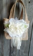 Burlap and lace flower Girl Basket, Rustic, hippie, boho, ivory