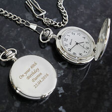 Engraved Pocket Fob Watch - Free Laser Engraving - Valentines Day, Weddings, Dad