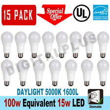 15 Led Light Bulbs 15W / 100W Replacement 1600L Daylight 5000K A19 Dimmable E26