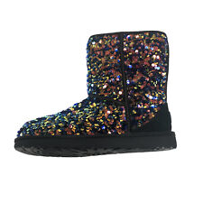 UGG Women's Classic Short Stellar Sequin Boot Black Size 9 New