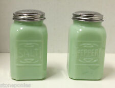 New Jade Green Embossed Glass Salt and Pepper Shakers Jadeite Retro Style