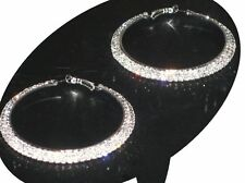 NEW (6140-11) Wide Large Hoops Diamante Earrings Silver