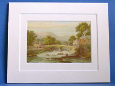 BEDDGELERT NORTH WALES SUPERB QUALITY 1879 ANTIQUE DOUBLE MOUNTED PRINT WARD