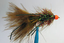 1 x Mouche Streamer Wooly Bugger Marron Pattes bille Orange H8/10/12 leg bead