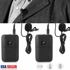 Portable Mic Transmitter Set Mini Wireless Cordless Clip-on Lapel Tie Microphone