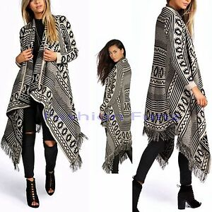 Womens Ladies Aztec Chequared Fringed Knitted Waterfall Cardigan Jumper Shawl