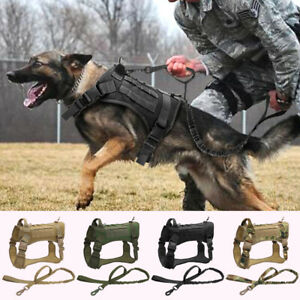 Nylon No Pull Tactical Dog Harness &Bungee Leash Military Training Vest Large K9