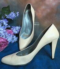 "VINTAGE Charles Jourdan CLASSIC PUMPS pink REPTILE leather 4"" high heels FRANCE"