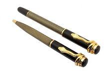 Exclusive Cobra Snake Design Clip Roller & Ball Pen Set Black Gold Vintage Look