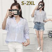 Women's Fashion Stripe V-neck Half Sleeve Casual Loose Shirts Blouse Tee Tops--