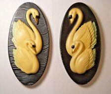 Pair Vintage 1965 Millers Studio Black White Teal Swan Wall Chalkware Plaques