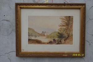Watercolour Painting has age. Man & Woman Lake Fishing. Castle & Mountains.