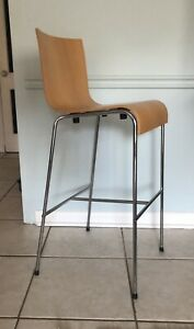 Zuo Escape? Modern Bar Chair in Natural Bamboo Plywood Finish