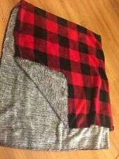 NWT Victoria's Secret Pink Plaid Throw Soft Blanket Red Black Gray Dorm New ❤
