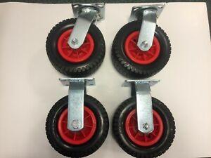 200mm puncture proof wheeled castors (set 4pcs)