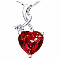 Sterling Silver 4.03Ct Heart Necklace Ruby Birthstone Pendant Gifts for Women