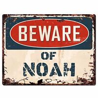 PBFN0458 Beware of NOAH Plate Rustic Chic Sign Home Wall Decor Funny Gift