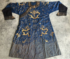 Antique Qing Dynasty Dragon Robe Gold Couched Embroidery Foo Dogs Jifu Chinese