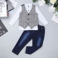Kids Boys Dress Suit Vest Shirt Necktie Pants Formal Clothes Gentleman Outfit