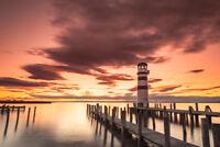 Lighthouse at Lake Neusiedl at Sunset Photo Art Print Poster 18x12