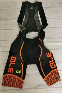 Ale PRS Men's Cycling Bibshorts, Black/Orange, Large. ALE57