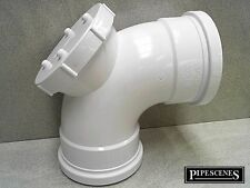 "Soil pipe accès Bend inspection Eye 4"" 110 mm Coude Blanc Double Socket"