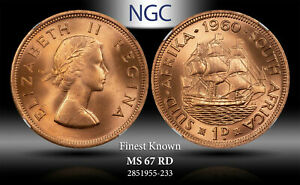 1960 SOUTH AFRICA 1 PENNY NGC MS 67 RD FINEST KNOWN