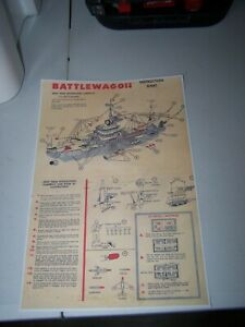 DELUXE READING B-400 U.S.S. BATTLEWAGON REMCO copy instruction sheet
