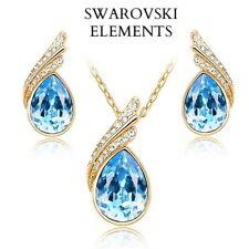 Parure  collier boucles d'oreilles  goutte d'eau Swarovski® Elements bleu azur