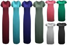 Round Neck Short Sleeve Viscose Maxi Dresses for Women