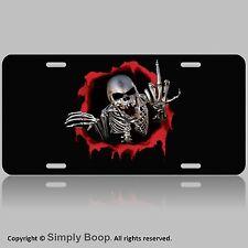 """Skull Skeleton 100% Aluminum Vanity License Plate Tag 6"""" x 12"""" Chrome The Finger"""