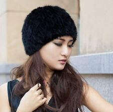 LIYAFUR Women's Real Genuine Knitted Mink Fur Winter Hat Cap Stretchable Black