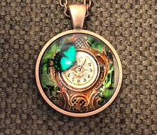 """Steampunk pic of a clock with butterfly glass necklace 22"""" copper tone gift #13"""
