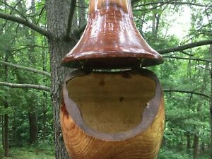 Hand-crafted 2 piece White Ash Hanging Wood Birdhouse #26