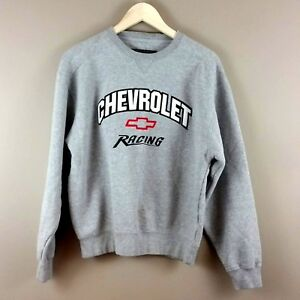 Vintage Chevrolet Racing Sweatshirt Big Cotton Gray Crew Neck Small
