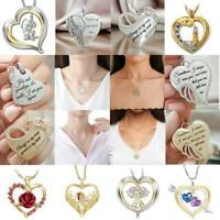 Multi-style 925 Silver Crystal Cz Love Heart Pendant Necklace Women Jewelry Gift