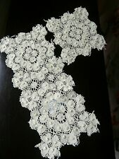TWO VINTAGE YELLOW COTTON MACHINE LACE TABLE MATS or DOILIES