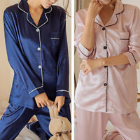 Women Silk Satin Pajama Sets Tops+Pants Long Sleeve Sleepwear Homewear Nightwear