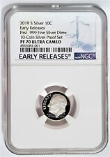 2019-S 10C Proof Roosevelt First .999 fine Silver Dime Ngc Pf70 -Early Releases-