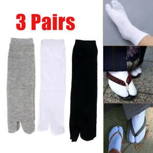 3 Pairs Simple Japanese Ninja Kimono Flip Flop Sandal Split Socks Toe Tabi Socks