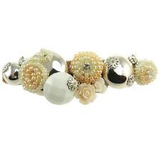 Barrette Pince à Cheveux fleurs et perles crème beige argentée cristal perles