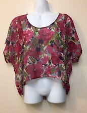 Nordstroms WallpapHer Mesh Floral Crop Top Size Small